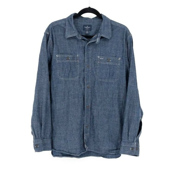 American Eagle Outfitters Long Sleeve Button Front Denim Shirt Blue Men's XLarge